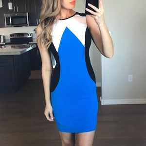Calvin Klein Blue Color Block Sheath Dress 4p